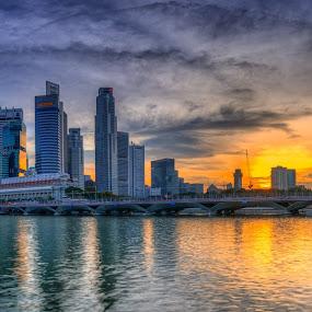 Sunset at Esplanade by Maskun Ramli - City,  Street & Park  Skylines ( skyline, sunset, marina bay, esplanade, city )