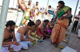 Photo: Bhairasundaram Gurukkal is performing the sankalpam for the priests