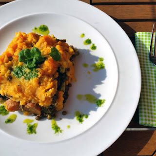 Puy Lentil And Coriander Pesto Bake With Sweet Potato Mash.