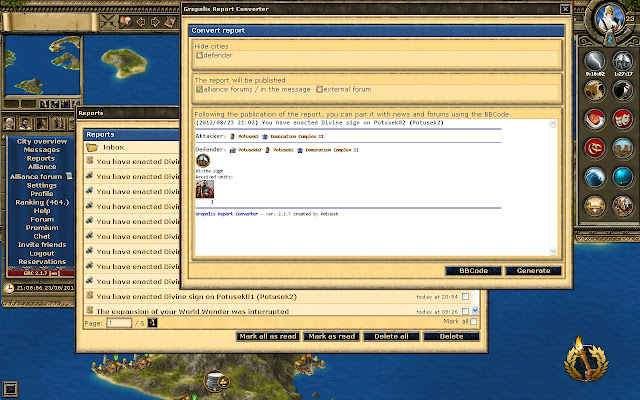 Grepolis report converter revolution tools chrome web store the script for the browser game grepolis converts reports records the city wall and many other useful features unavailable in gumiabroncs Images