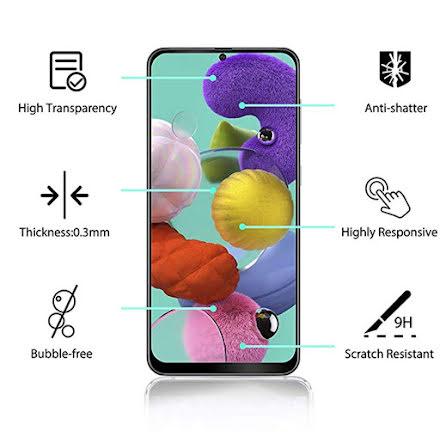 Galaxy A71 Skärmskydd 2.5D Ram 9H 0,3mm HD-Clear