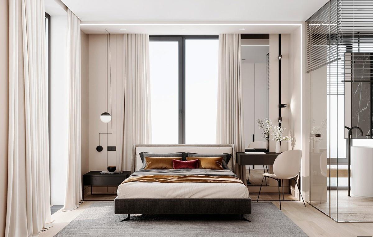 Phòng ngủ với tone màu kem ngả beige ngọt ngào, sang trọng.