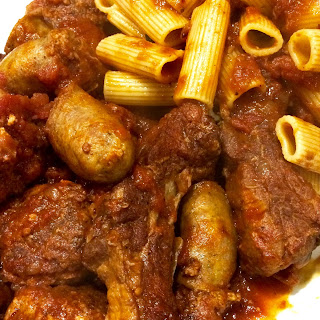 Rigatoni with Ribs, Sausage & Meatballs aka Sunday Gravy