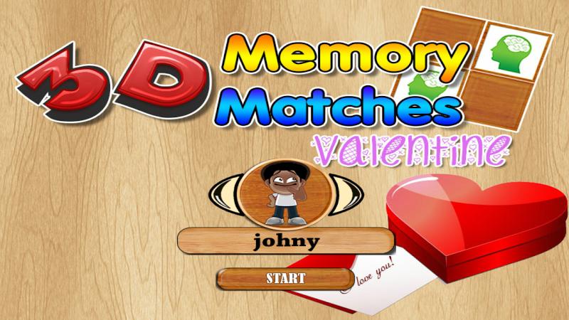 Скриншот 3D memory matches valentine