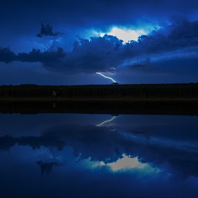 Night Strike by Scott Valenzuela - Novices Only Abstract ( clouds, lightning, lake, night, storm,  )