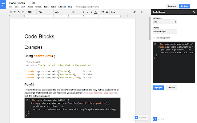 Code Blocks - G Suite Marketplace