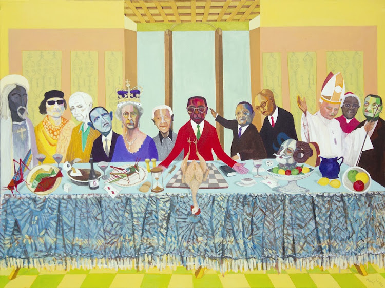 In The Passover, Richard Mudariki's twist on Da Vinci's Last Supper, Zimbabwean President Robert Mugabe is flanked by various world leaders. Picture: SUPPLIED