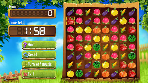 playing fruit and gems