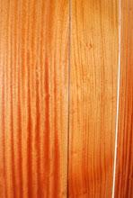 Photo: close up of Sapele veneered honeycomb sandwich panel flooring