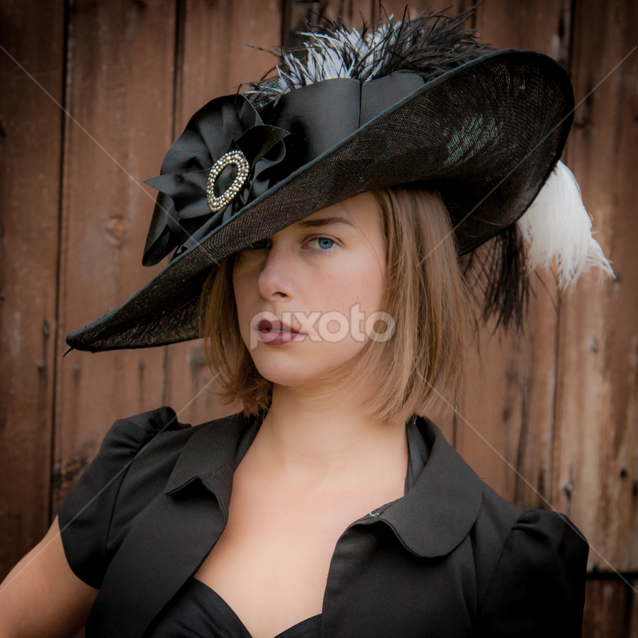 Hello! by John Walton - People Portraits of Women ( #heritagefocus, #hat, #black )