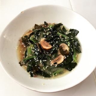 Easy Kale, Mushroom, Quinoa Miso Soup
