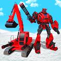 Snow Excavator Crane Transform Robot Shooting Game APK