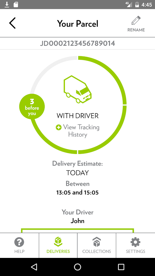 Yodel parcel manager- screenshot