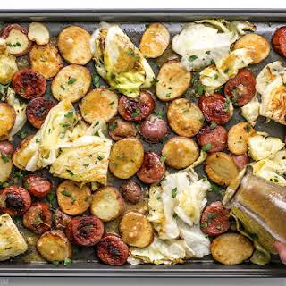 One Pan Roasted Kielbasa and Cabbage Dinner.