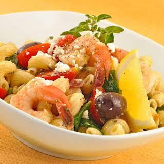 Mediterranean Pasta Salad with Shrimp.