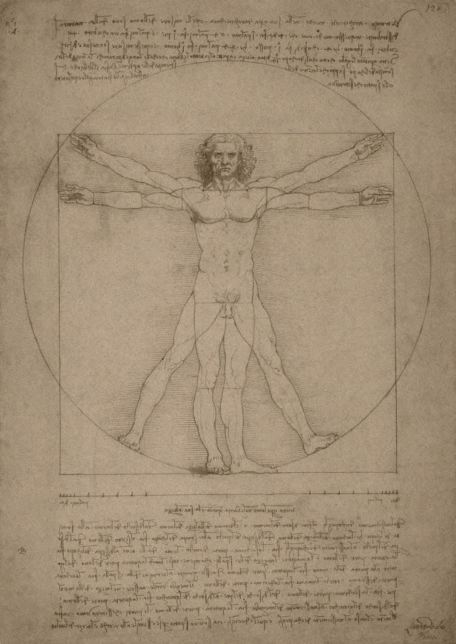 Dibujo del hombre de Vitruvio, hecho por Leonardo.