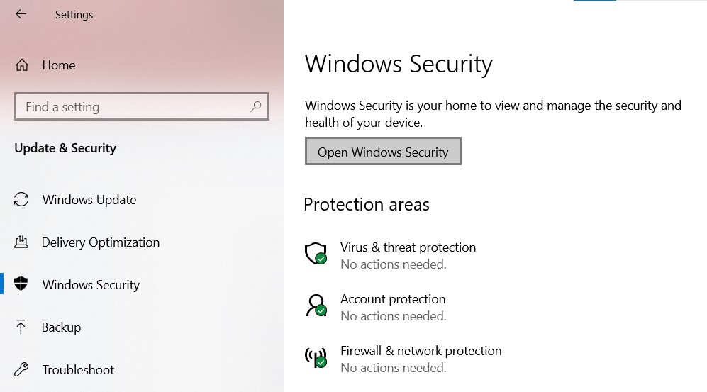 The Windows Security page in Windows Settings
