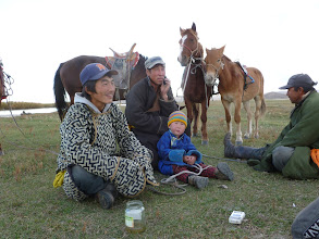 Photo: Riders stopped by and we offered whatever food we had. The little boy rode his own horse