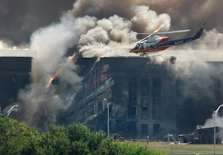Photo: A fire erupts after a plane crashed into the Pentagon on 9/11.