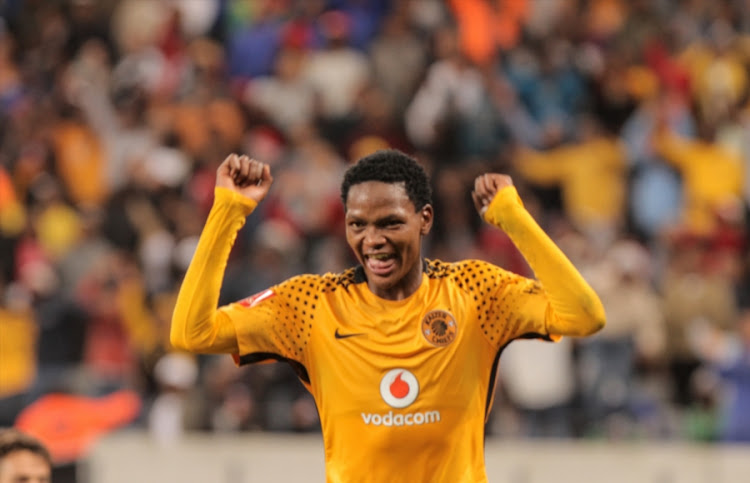 Wiseman Meyiwa of Kaizer Chiefs celebrates after scoring on debut during the Absa Premiership match against Cape Town City FC at Cape Town Stadium on September 13, 2017 in Cape Town, South Africa.