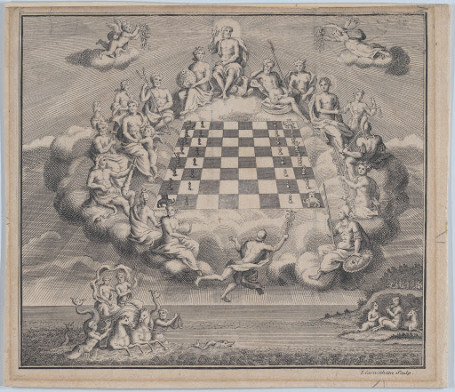 Heavenly Scene with the Gods of Olympus Surrounding a Chess Board, Poseidon and Pan Below