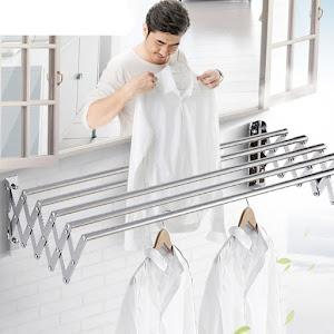 Uscator retractabil din aluminiu, cu prindere in perete, 60x70 cm