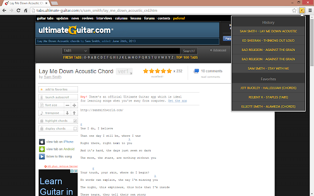 Ultimate Guitar Web - Chrome Web Store