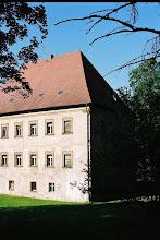 Photo: Die Westfassade ist schadhaft, weil das Schloss über Jahrzehnte mit Wildem Wein eingewachsen war und einst Betriebsgebäude ans Schloss angebaut waren.