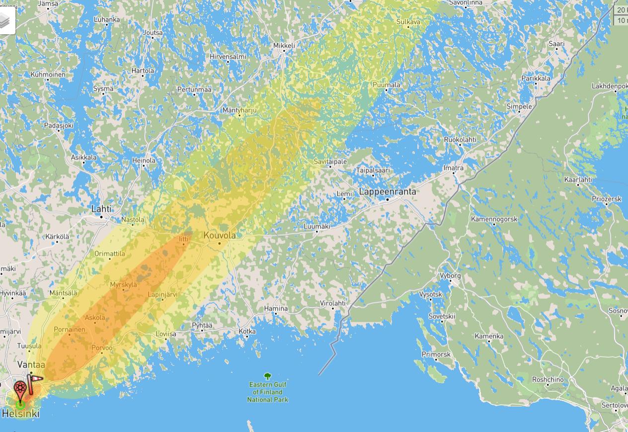 Ydinräjähdyksen säteily kaukaa