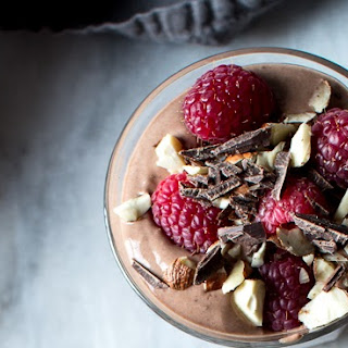 CHOCOLATE, RASPBERRY, AND HAZELNUT, YOGURT PARFAITS.