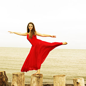 by Terri Mills - People Portraits of Women ( water, sky, red, girl, dress, beauty, lyrical, dance, dancer,  )