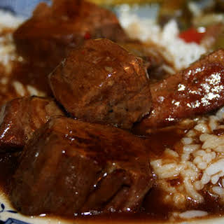 Crockpot Beef Tips and Rice.