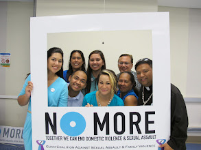 Photo: Guam Coalition Against Sexual Assault and Family Violence Staff with Rev. Fr. Michael Crisostomo proudly stand AGAINST all forms of violence!