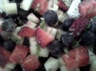 Chop fruits that need to be chopped. Add to bowl all ingredients, stir and...