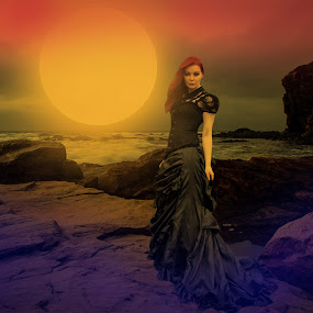 Different Type Of Moon... by Ilkgul Caylak - Digital Art Things ( amazing, cool, clouds, moon, sky, girl, awesome, woman, beautiful, dramatic, nice, dramatic sky )