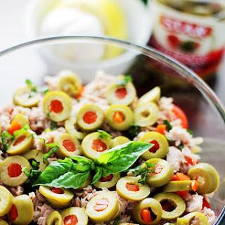 Tuna Pasta Salad with Pimiento-Stuffed Olives.