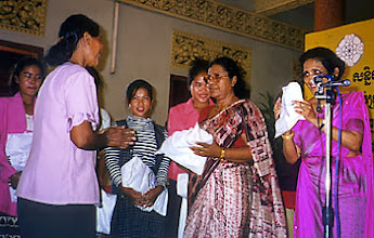 Photo: Ranjani de Silva, Sakyadhita president and conference co-ordintator Hema Goonatilake (both of Sri Lanka) express their appreciation to the local Cambodian conference planning committe.
