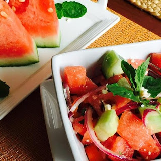 Refreshing Cucumber Watermelon Salad.