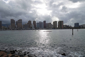 Photo: Honolulu skyline. We spent the night coming and going from Brisbane.
