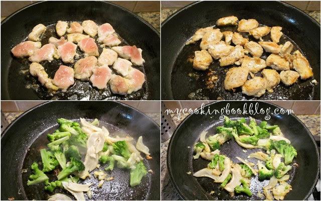 Паста с броколи, пиле, артишок и сметана