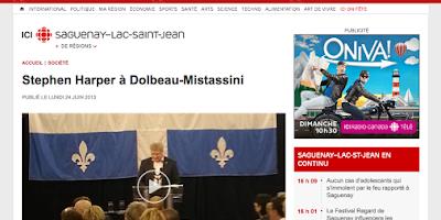 Stephen Harper à Dolbeau-Mistassini Radio-Canada