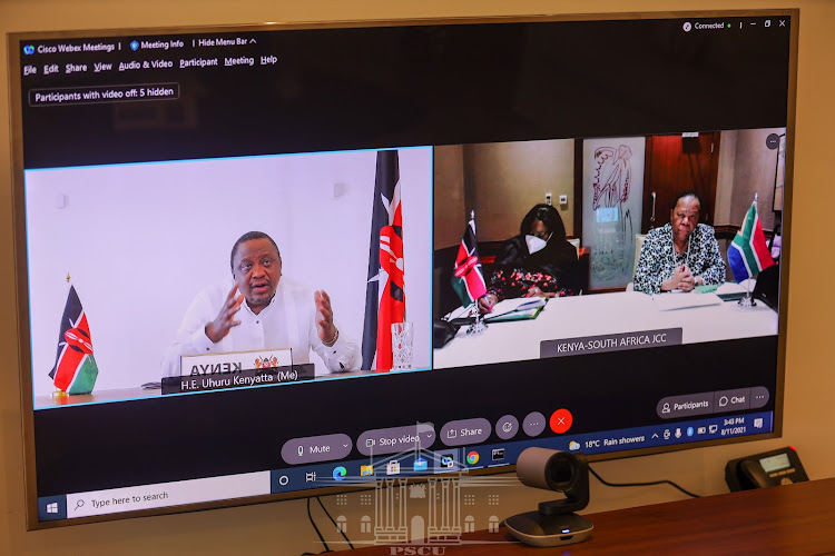 President Uhuru Kenyatta during a virtual meeting with South African Minister for International Relations and Cooperation Ms Naledi Pandor and CS Raychelle Omamo.