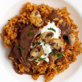 Red Pilaf With Beef And Mushrooms