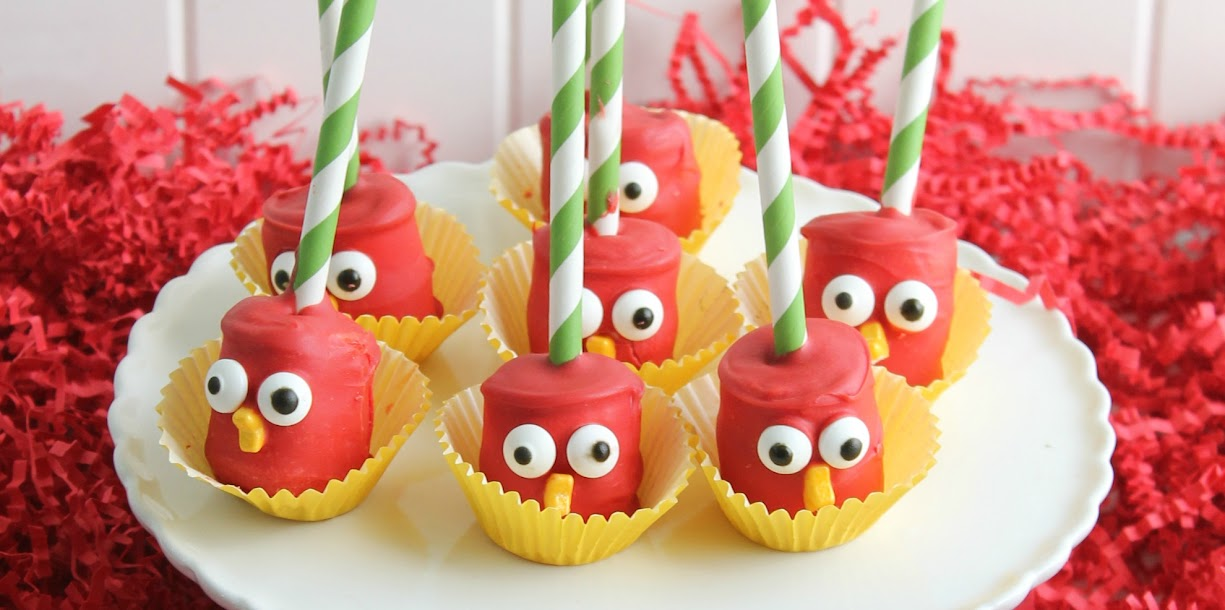 "These Red Bird Angry Birds Marshmallow Pops are easy to make with just a few common supplies. Serve them in little ""nests"" or just on their own!"