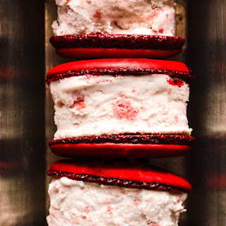 Red Velvet Macaron Ice Cream Sandwiches
