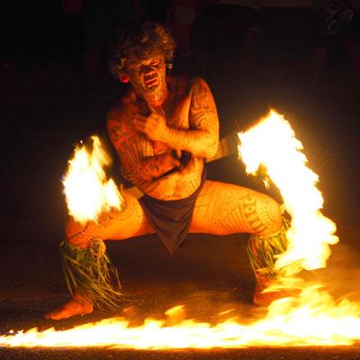 Tahitian fire dancer