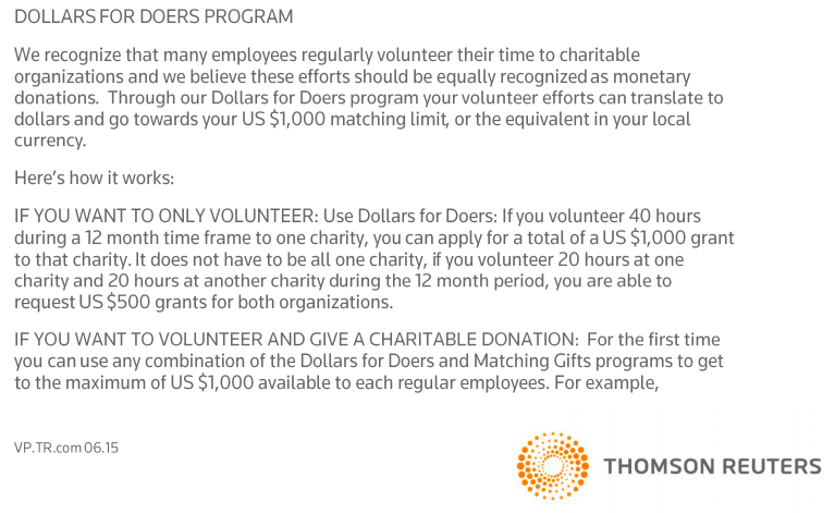 Image outlining the Thomson Reuters 'Dollars for Doers' program to encourage volunteering. Image shows the announcement explaining the initiative.