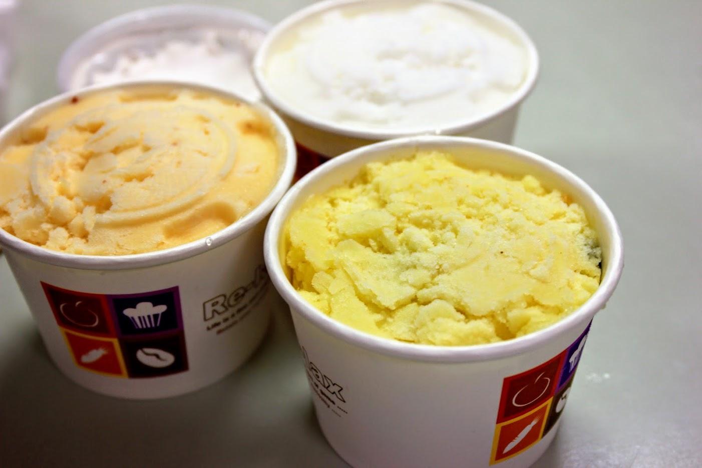 鳳梨牛奶冰、梅子冰、清冰和芋頭冰