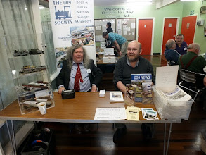 Photo: 001 Stephen Sullivan (left) and David Gander mount guard on the display case and act as the Welcoming Party ready to greet visitors and relieve them of some cash .