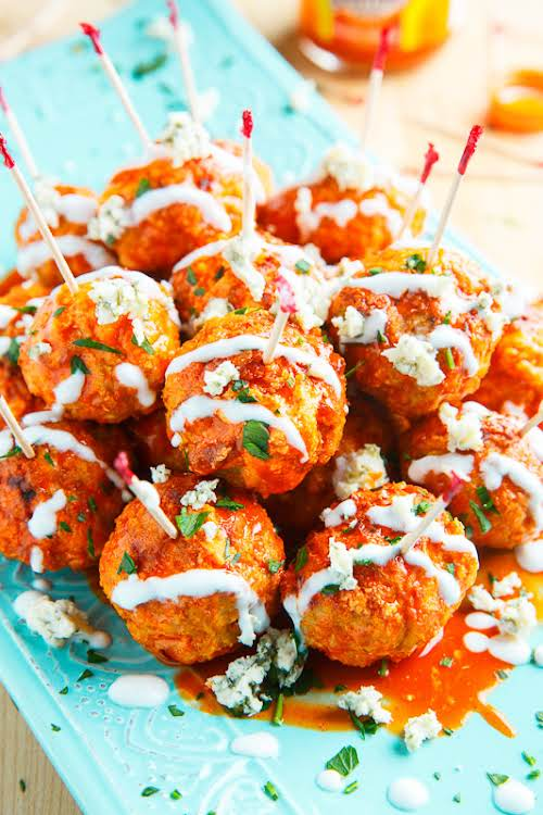 "Jalapeno Popper Stuffed Buffalo Chicken Meatballs ""All of the flavours of buffalo..."